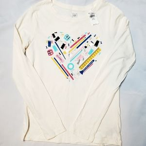 Girls Gap Valentine Heart School Long Sleeve XXL